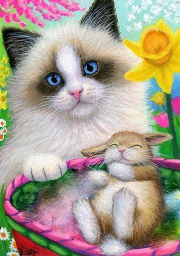 kitten en konijntje…